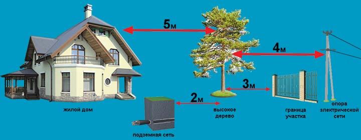 Яка відстань повинна бути від будівлі або посаджених дерев до межі між сусідніми ділянками